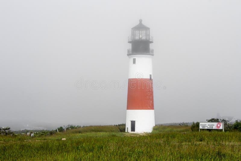 Sankaty Head ljus, den Nantucket ön, Massachusetts arkivfoto