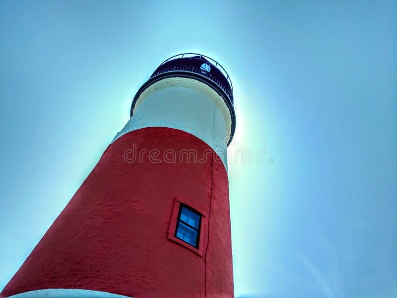 Sankaty huvudljus underifrån, Nantucket, Massachusetts royaltyfri fotografi