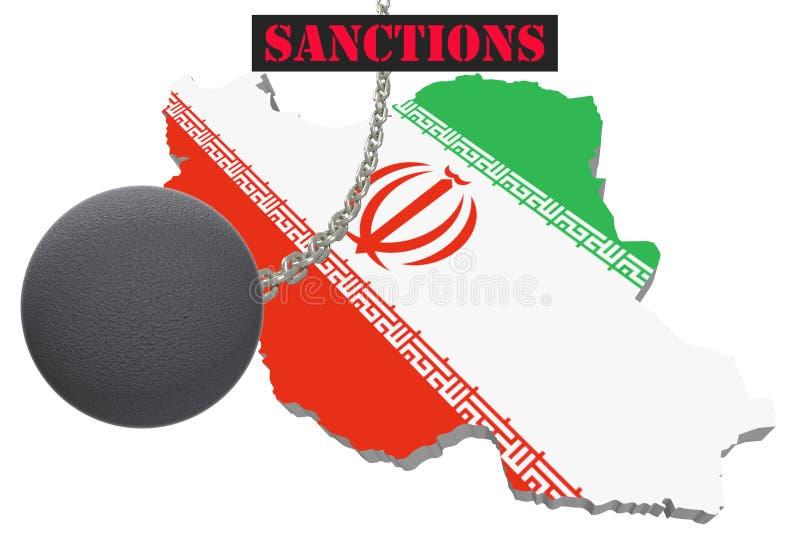 Sankcje Przeciw Iranowi, mapa Iran ilustracja 3 d Latająca stalowa piłka na łańcuchu Odizolowywającym na białym tle ilustracja wektor