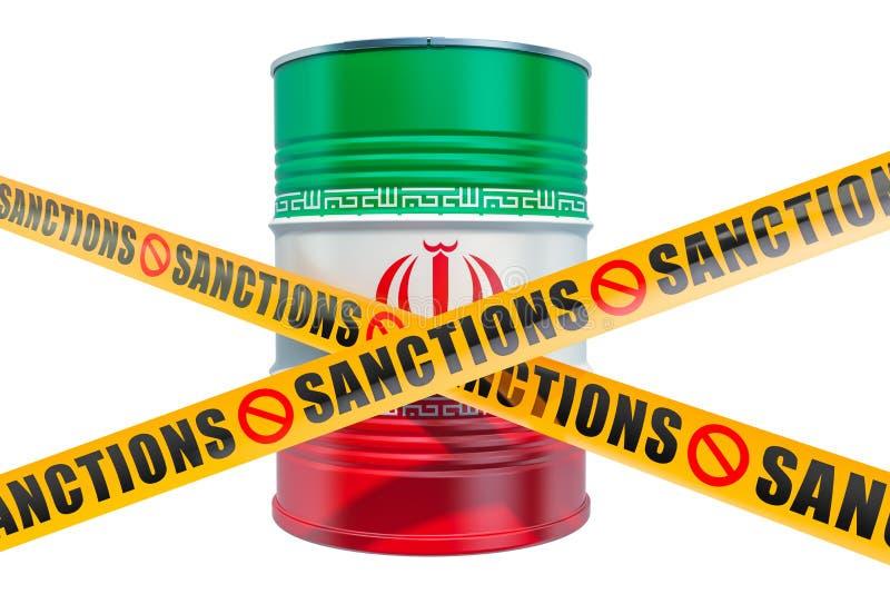 Sankcje Przeciw Iranowi, zakazuj?cy eksport ira?czyka oleju poj?cie, 3D rendering ilustracji