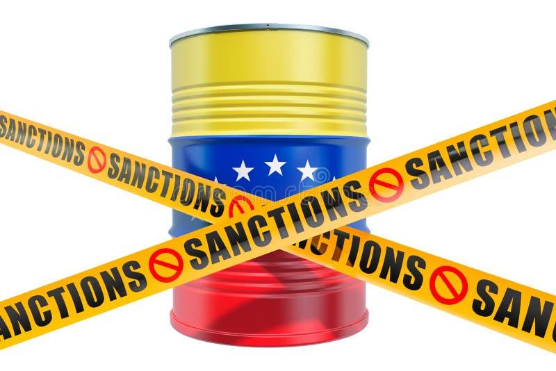 Sankcje przeciw Wenezuela, zakazuj?cemu eksport wenezuelczyka oleju poj?cie, 3D rendering royalty ilustracja