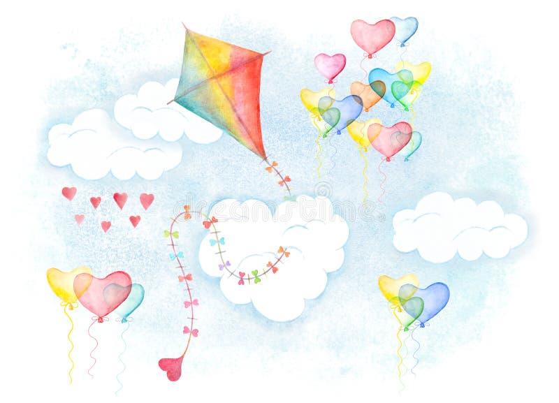 Sankranti de Makar, cometa y globos del amor en nubes ilustración del vector
