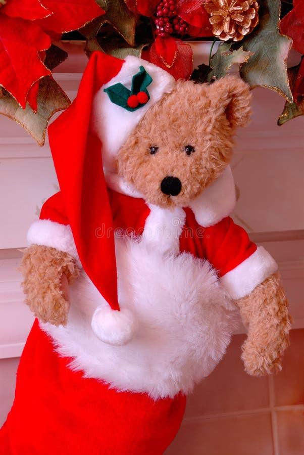 Sankt-Bären-Weihnachtsstrumpf stockfotografie