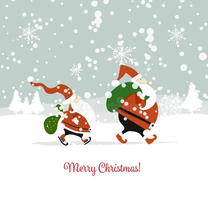 Sankt-Brüder in der Winterwaldweihnachtskarte vektor abbildung