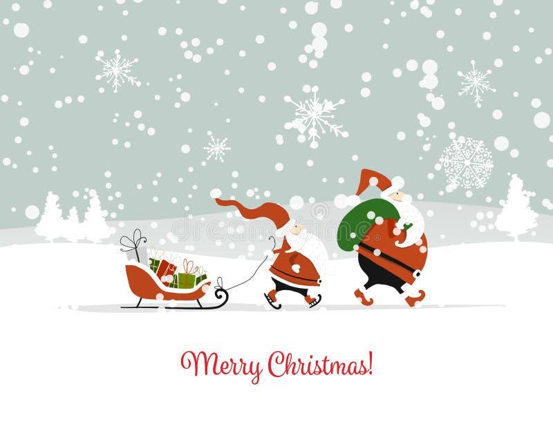 Sankt-Brüder in der Winterwaldweihnachtskarte stock abbildung