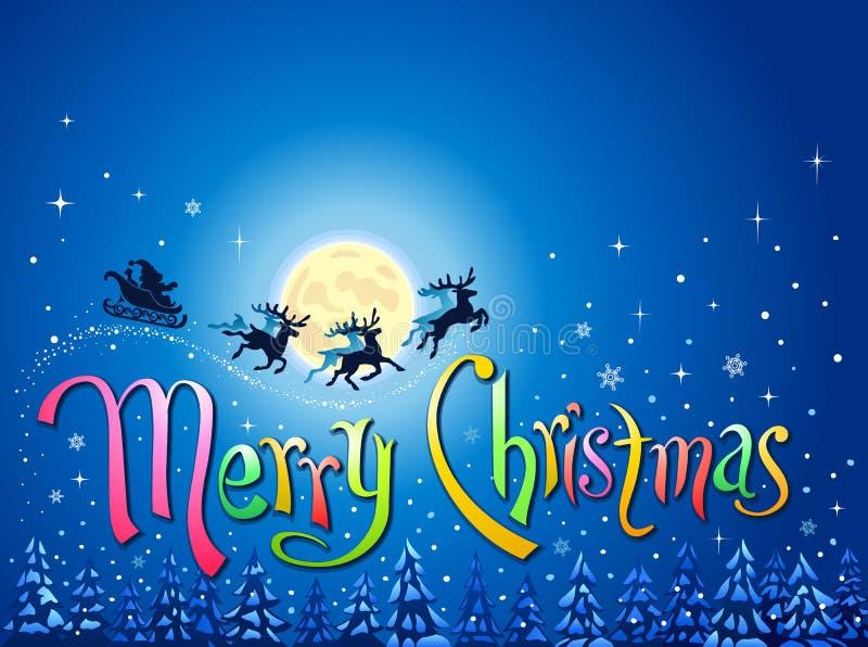 Sankt in den Wörtern des Pferdeschlittens und der frohen Weihnachten vektor abbildung