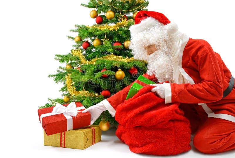 Sankt, die Geschenke unter den Weihnachtsbaum setzt stockfoto