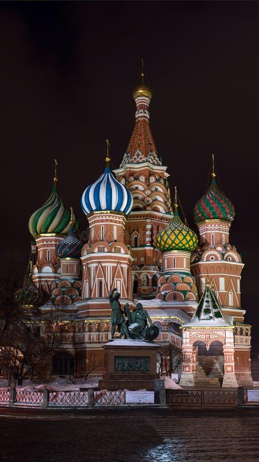 Sankt domkyrka för basilika` s i Moskvanatt royaltyfri fotografi