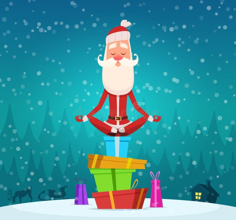 Sankt entspannen sich Meditation Winterweihnachtsfeiertagscharakter Weihnachtsmann, der Yoga exercices Vektor-Maskottchendesign i stock abbildung