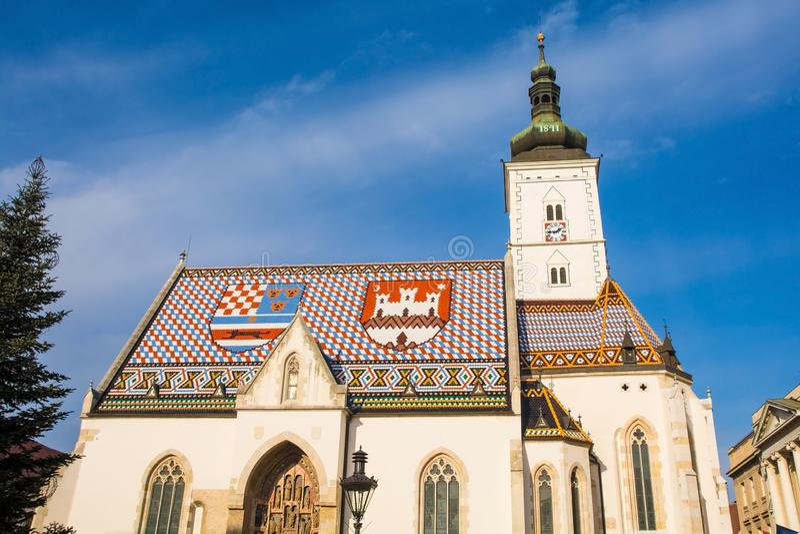 Sankt fläckkyrka i Zagreb arkivbild