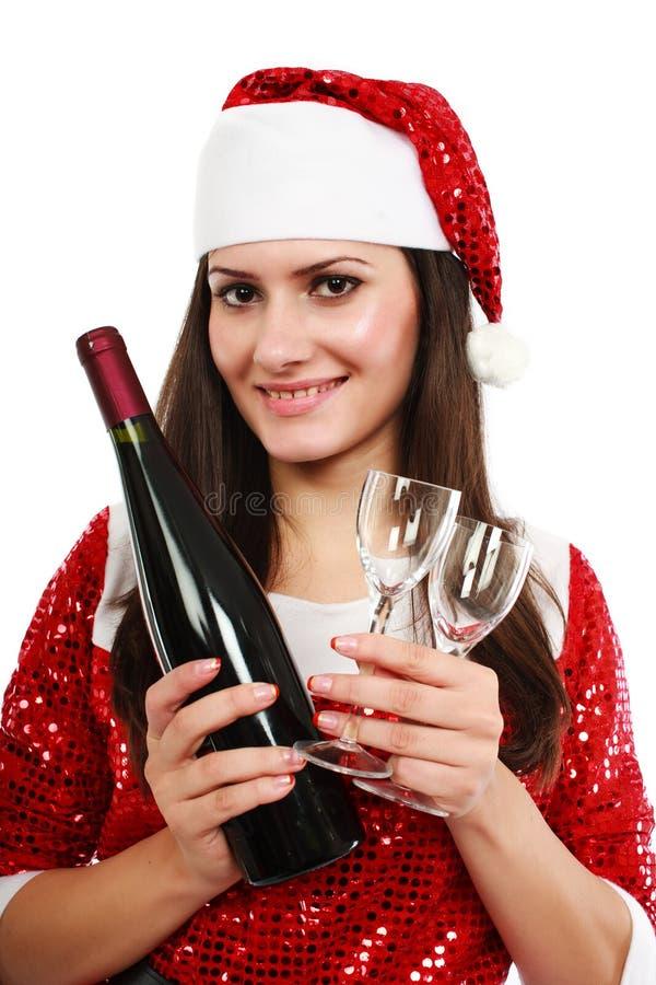 Sankt-Helfer mit Wein und Gläsern lizenzfreie stockbilder