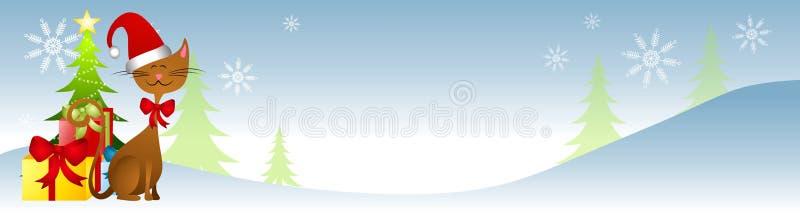 Sankt-Hut-Katze-Weihnachtsszene lizenzfreie abbildung
