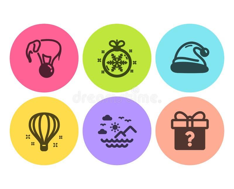 Sankt-Hut, Luftballon und Elefant auf den Ballikonen eingestellt Seeberge, Weihnachtsball und geheime Geschenkzeichen Vektor lizenzfreie abbildung