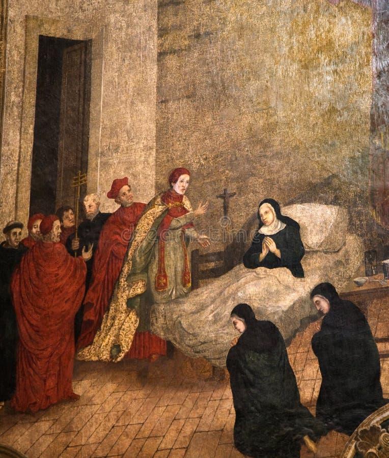 Sankt-Kirche-Kloster-Anstrich-sterbende Nonne stock abbildung