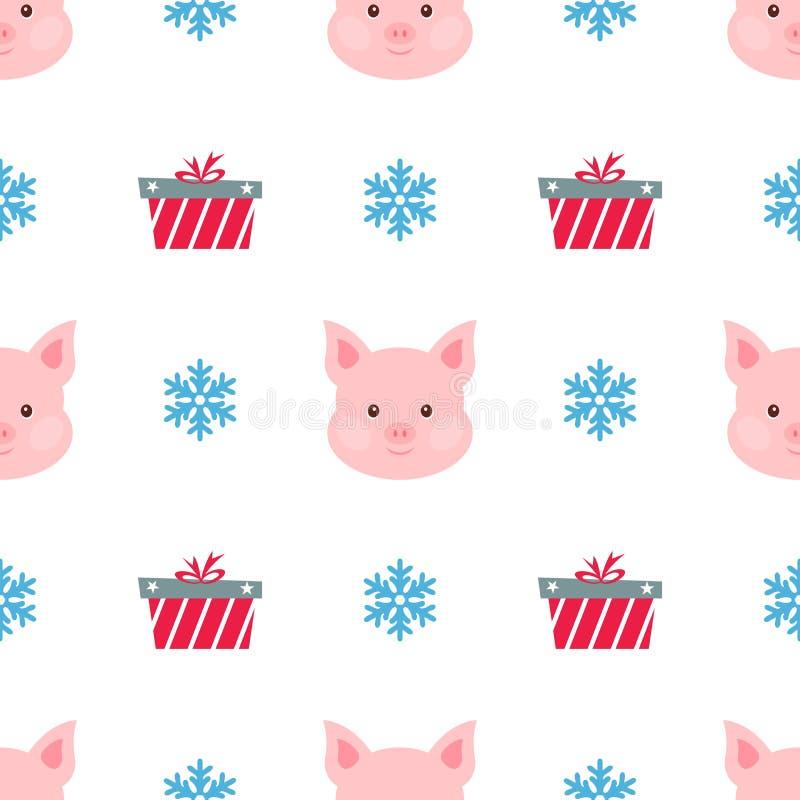 Sankt Klaus, Himmel, Frost, Beutel Porträt des rosa Schweins mit Geschenkbox, Schneeflocke Lustiges Karikaturgesicht eines Schwei lizenzfreie abbildung