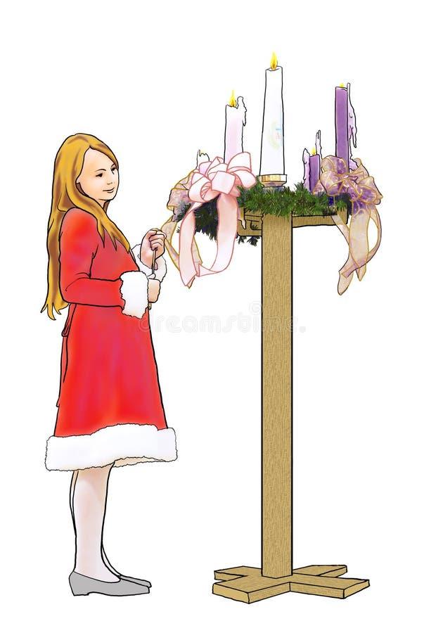 Sankt-Mädchen mit AufkommenWreath stock abbildung