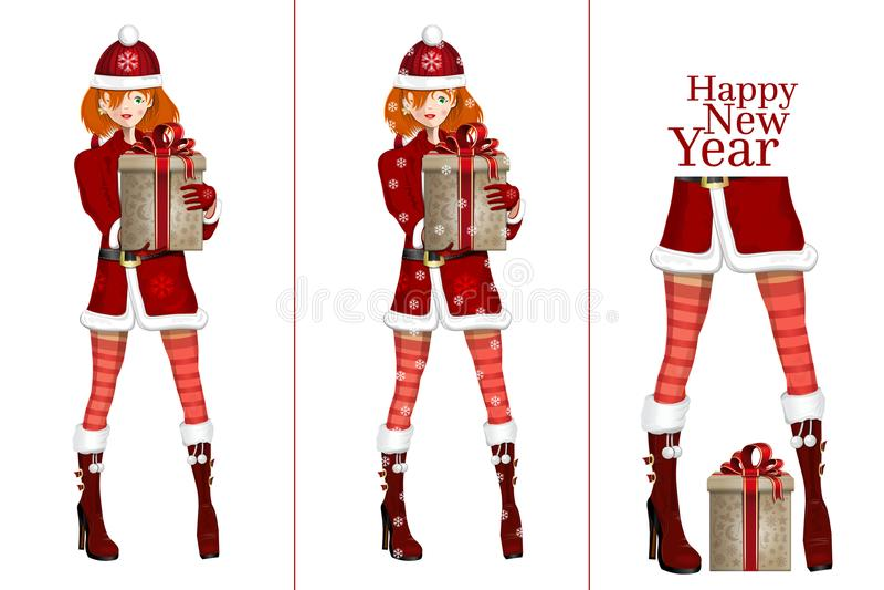 Sankt-Mädchen mit Weihnachtsgeschenk vektor abbildung