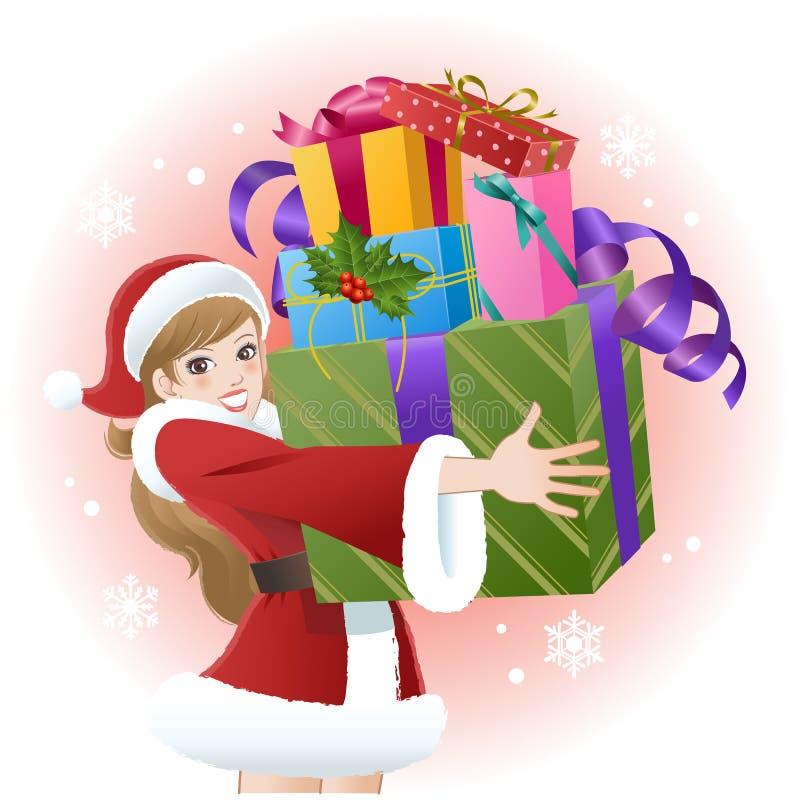 Sankt-Mädchenholdingweihnachtsgeschenkkästen lizenzfreie abbildung