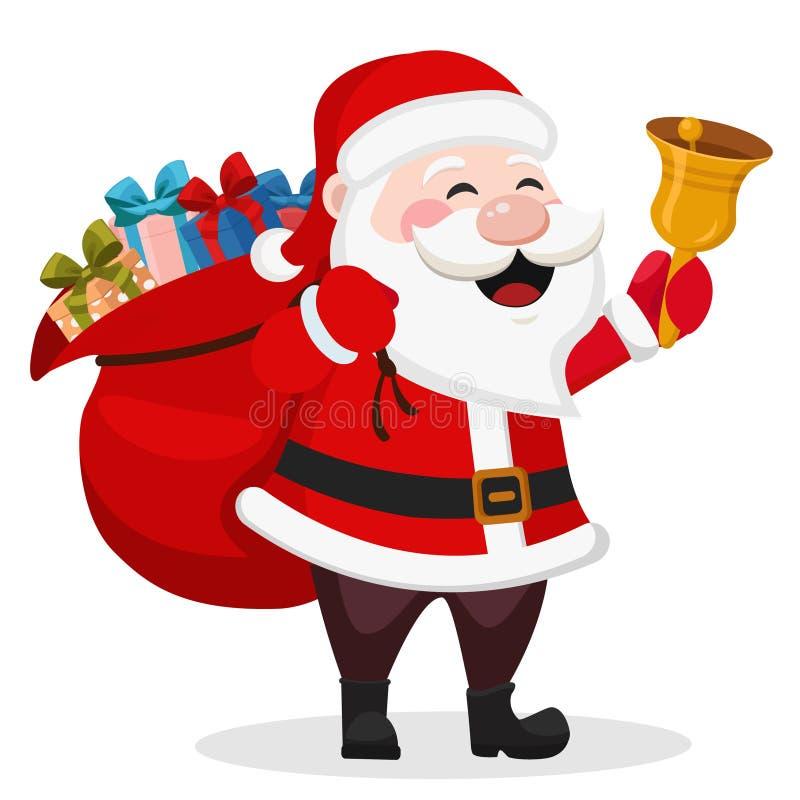 Sankt mit einer Tasche von Geschenken lächelnd und eine Glocke auf einem weißen wellenartig bewegend vektor abbildung