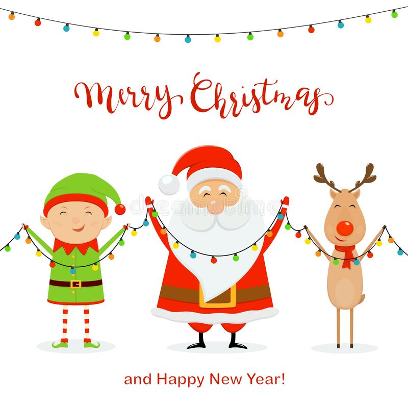 Sankt mit glücklicher Elfe und den Rotwild, die Weihnachtslicht halten stock abbildung