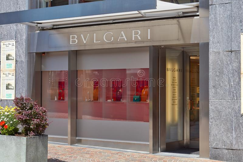 Bulgari luxury jewelry store in a sunny summer day in Sankt Moritz, Switzerland royalty free stock photography