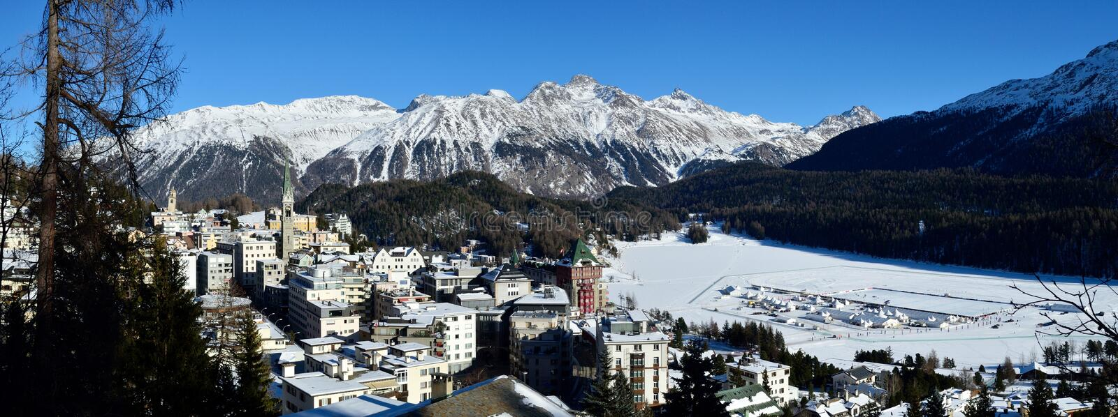 Sankt Moritz. Winter alpine scenery around famous resort Sankt Moritz - Switzerland stock image