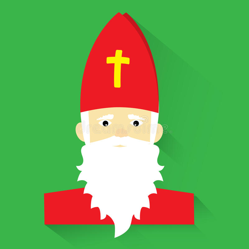 Sankt Nikolaus auf grünem Hintergrund, flaches Design, Vektorillustration vektor abbildung
