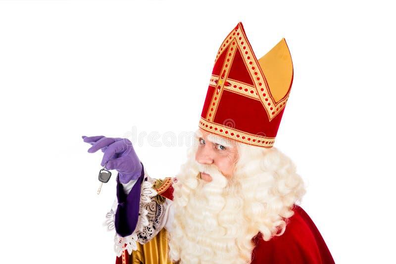 Sankt Nikolaus mit Autoschlüssel lizenzfreie stockfotografie