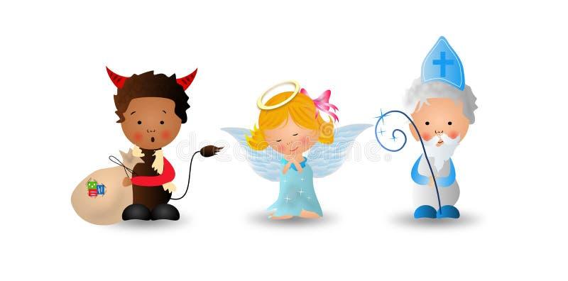 Sankt Nikolaus mit Engel und Teufel vektor abbildung