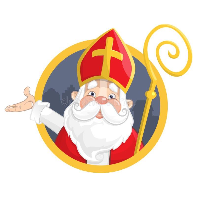 Sankt Nikolaus oder Sinterklaas Porträt auf Kreisfahne - Vektorillustration lokalisiert auf weißem Hintergrund stock abbildung