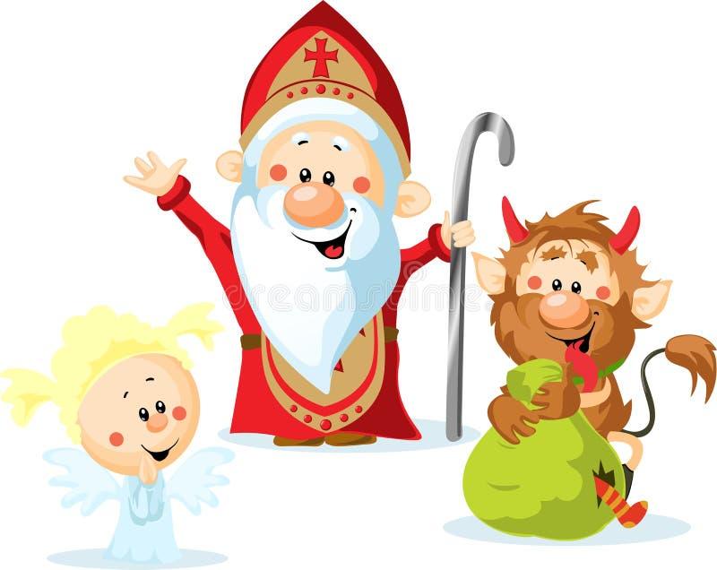 Sankt Nikolaus, Teufel und Engel vektor abbildung