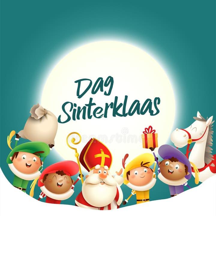 Sankt Nikolaus und seine Freunde feiern Feiertag vor Mond - Dag Sinterklaas - Türkishintergrund mit Kopienraum lizenzfreie abbildung