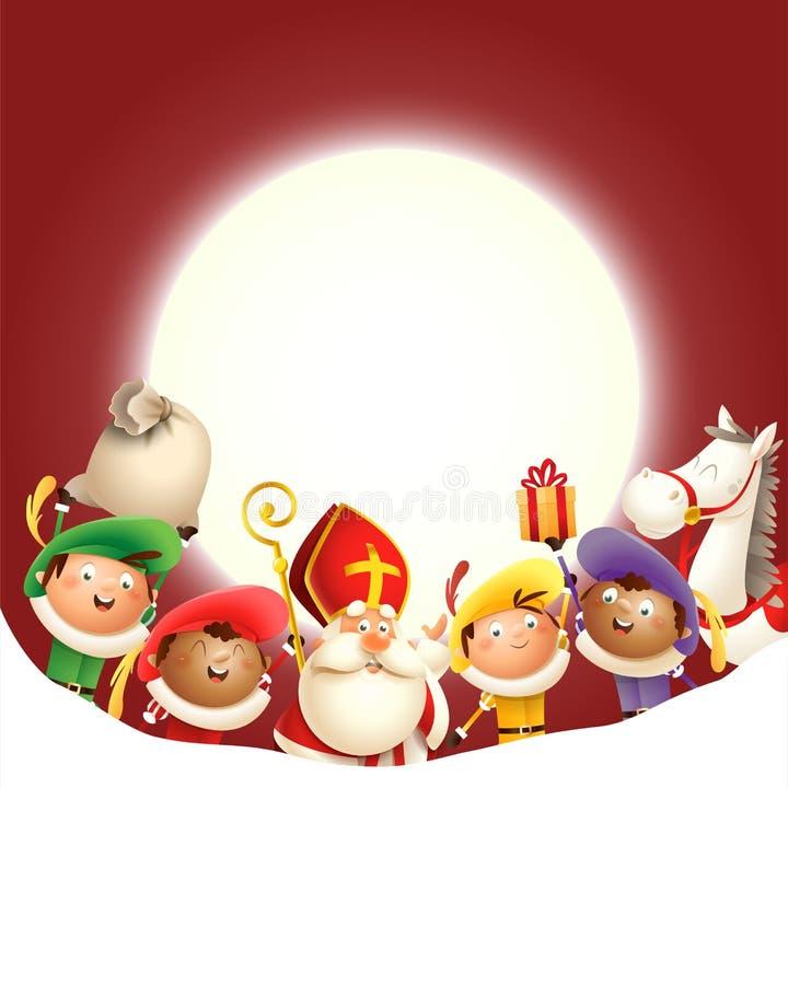 Sankt Nikolaus und seine Freunde Zwarte Piets feiern Feiertag vor Mond - roter Hintergrund mit Kopienraum vektor abbildung