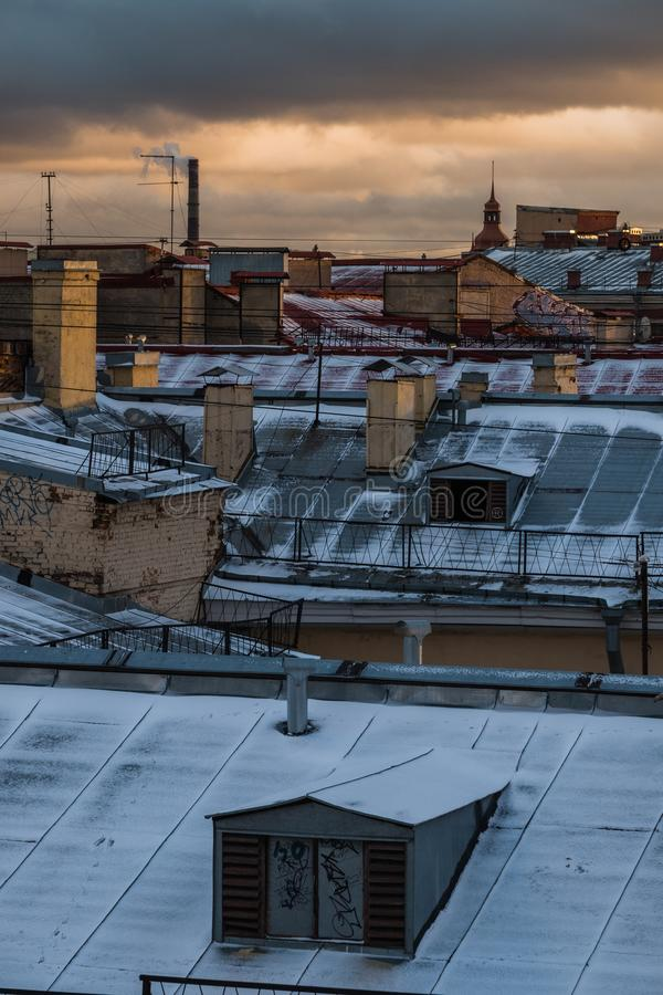 Sankt-Peterburg冬天风景 库存照片