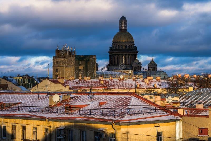 Sankt-Peterburg zimy krajobraz zdjęcie stock