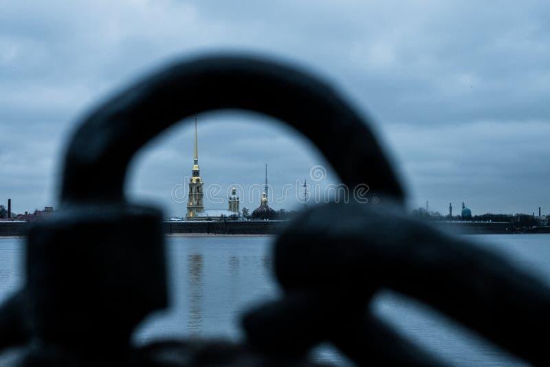 Sankt-Peterburg zimy krajobraz fotografia stock
