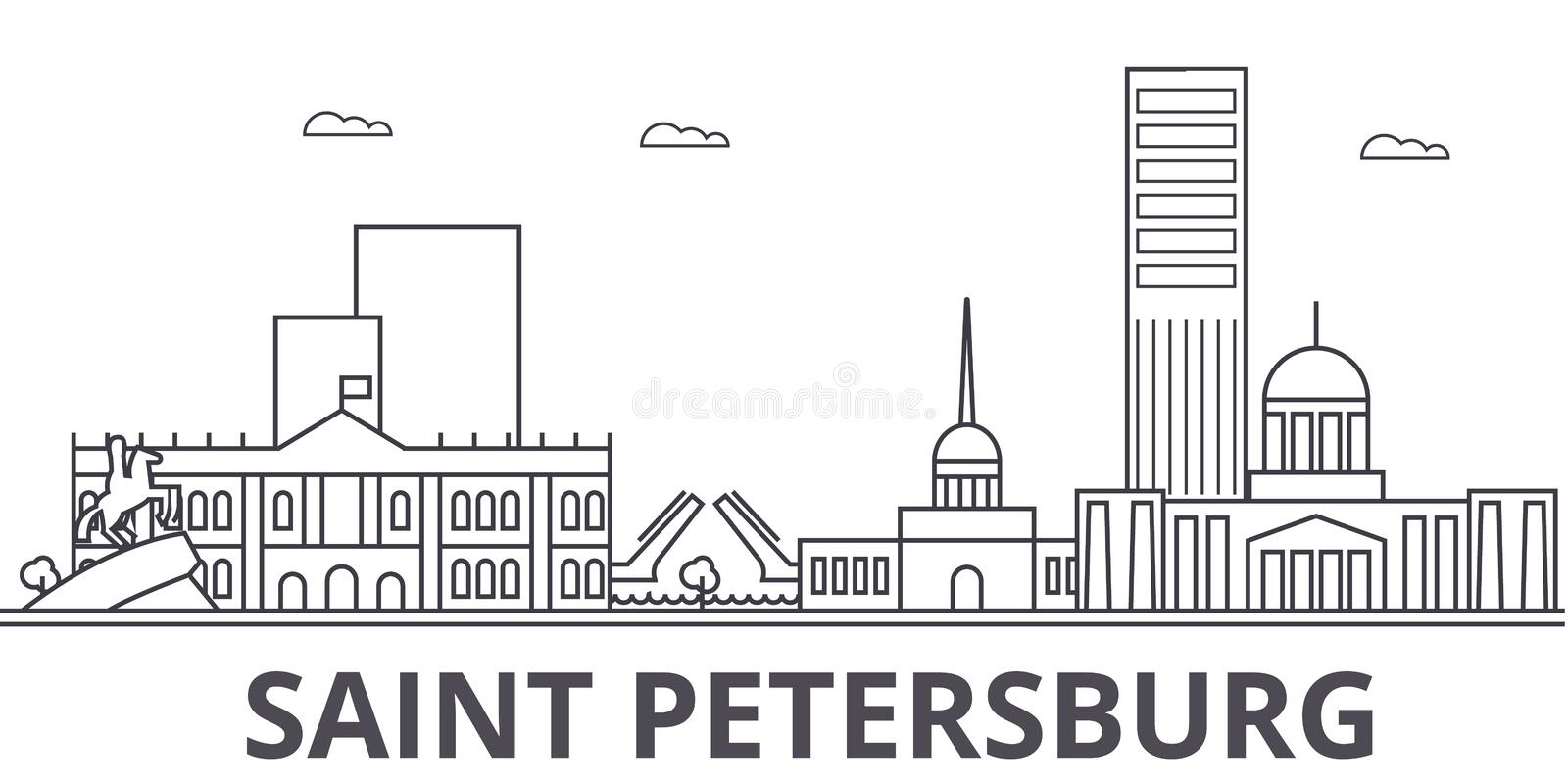 Sankt Petersburg architecture line skyline illustration. Linear vector cityscape with famous landmarks, city sights royalty free illustration