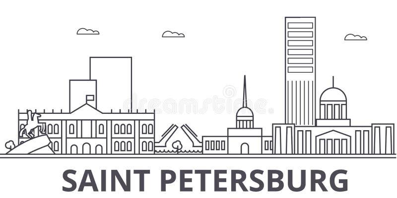 Sankt Petersburg architektury linii linii horyzontu ilustracja Liniowy wektorowy pejzaż miejski z sławnymi punktami zwrotnymi, mi royalty ilustracja