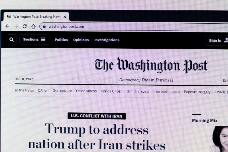 Sankt Petersburg, Rosja - 10 stycznia 2020 r.: Strona Washington Post na ekranie notebooka z logo, Illustrative Editorial zdjęcie royalty free