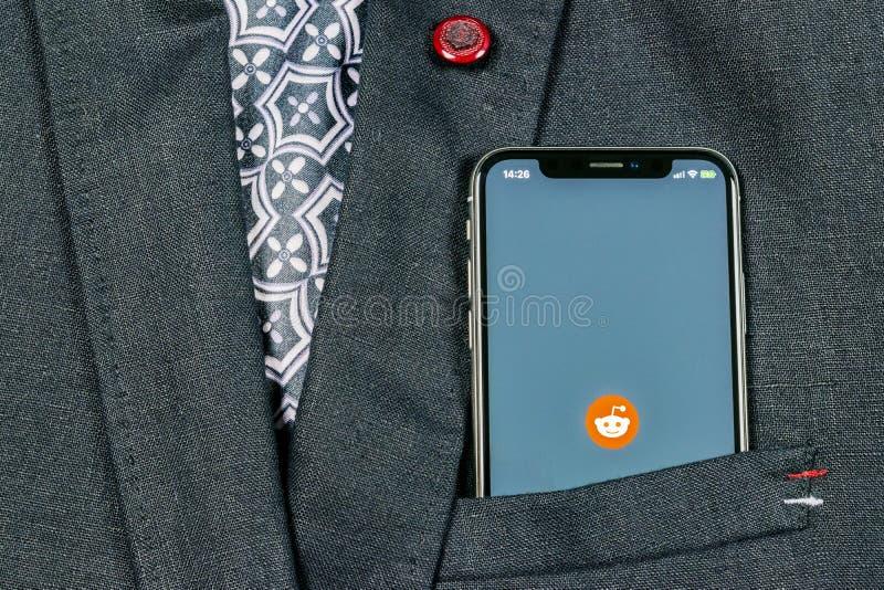 Reddit Application Icon On Apple IPhone X Smartphone Screen