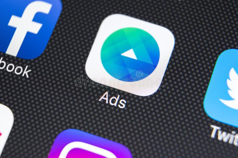 Facebook Ads application icon on Apple iPhone X screen close-up. Facebook Business app icon. Facebook Ads mobile application. Sankt-Petersburg, Russia, February royalty free stock photo