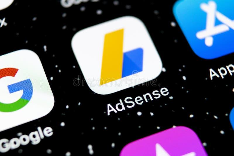 Google AdSense application icon on Apple iPhone X screen close-up. Google AdSense app icon. Google AdSense application. Social med. Sankt-Petersburg, Russia stock photo