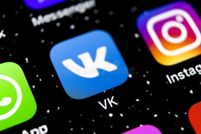 Vkontakte application icon on Apple iPhone X screen close-up. VK app icon. Vkontakte mobile application. Social media network. Soc. Sankt-Petersburg, Russia stock photos