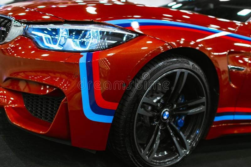 Front view of a BMW M4 sports car. M Performance Edition. Car exterior details. Sankt-Petersburg Russia July 21 2017: Front view of a BMW M4 sports car. M royalty free stock photo