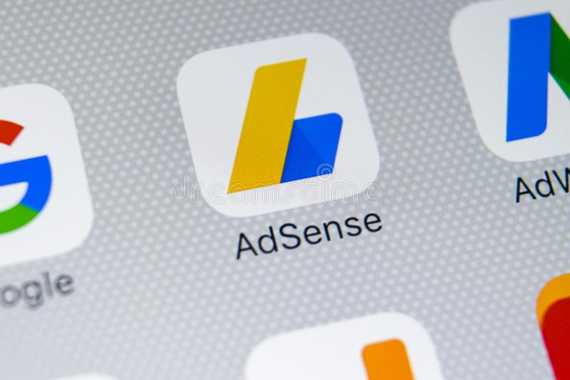 Google AdSense application icon on Apple iPhone X screen close-up. Google AdSense app icon. Google AdSense application. Social. Sankt-Petersburg, Russia, March 1 stock image