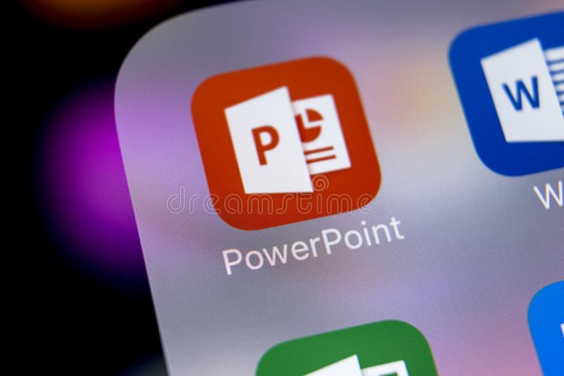 Microsoft office Powerpoint application icon on Apple iPhone X screen close-up. PowerPoint app icon. Microsoft Power Point. Sankt-Petersburg, Russia, March 7 stock images