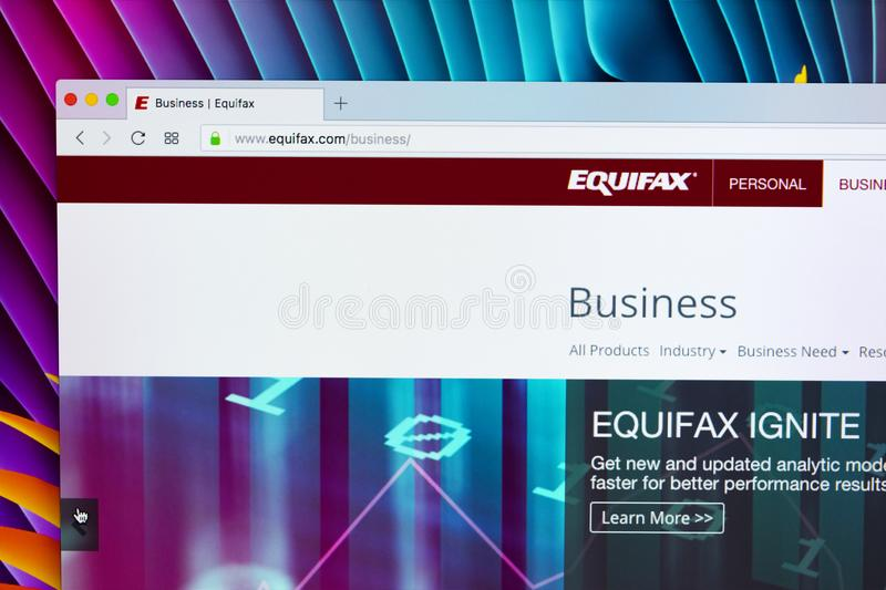 Equifax home page on the Apple iMac monitor screen. Equifax Inc. is a consumer credit reporting agency. stock images