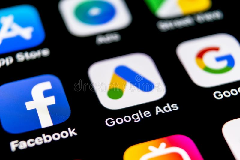 Google Ads AdWords application icon on Apple iPhone X screen close-up. Google Ad Words icon. Google ads Adwords application. Socia. Sankt-Petersburg, Russia royalty free stock photography