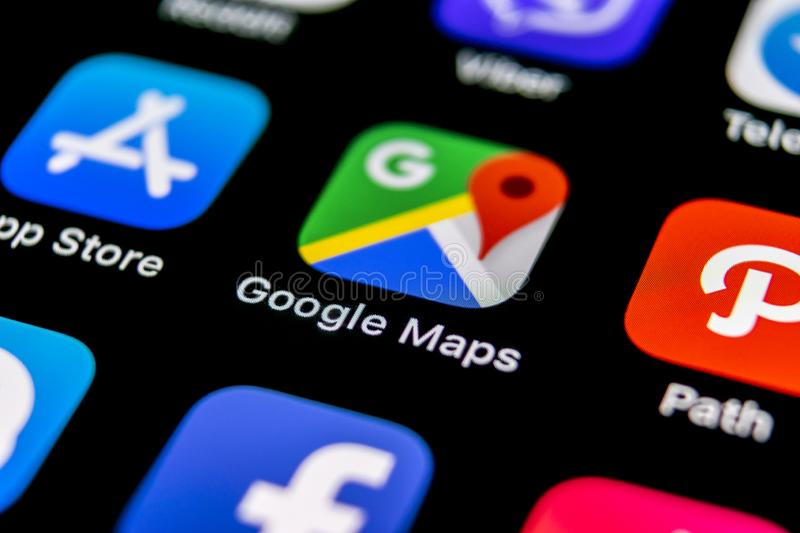 Google Maps application icon on Apple iPhone X screen close-up. Google Maps icon. Google maps application. Social media network stock image