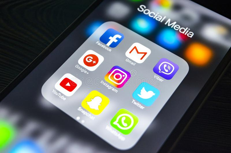 Iphone 6s with icons of social media on screen. Smartphone life style smartphone. Starting social media app. Sankt-Petersburg, Russia, September 24, 2017 stock image